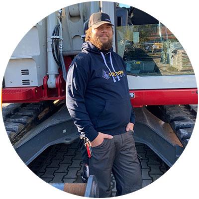Christopher Conrad, Lagermitarbeiter der Firma Salchow & Berger Baubedarf GmbH in Altheim