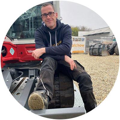 Robin Schneider, Mitarbeiter Mietpark der Firma Salchow & Berger Baubedarf GmbH in Altheim